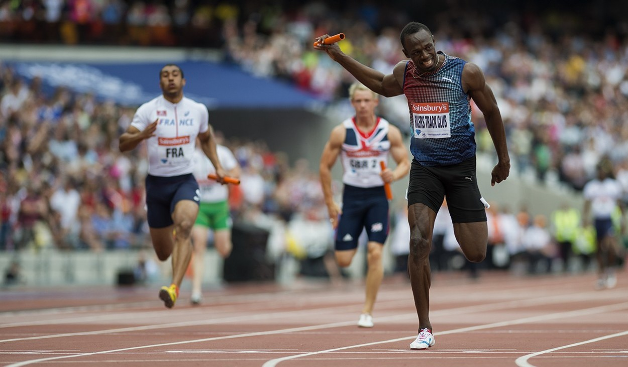 Usain Bolt running the Anchor leg of the 4x100m relay